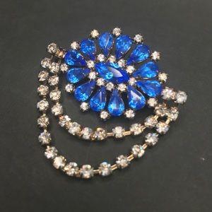 Vintage Blue & Silver Floral Brooch Pin